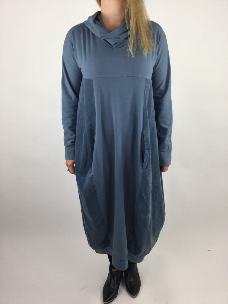 Lagenlook Long Cowl Neck Cord Cocoon Tunic in Denim Blue. Code 3991