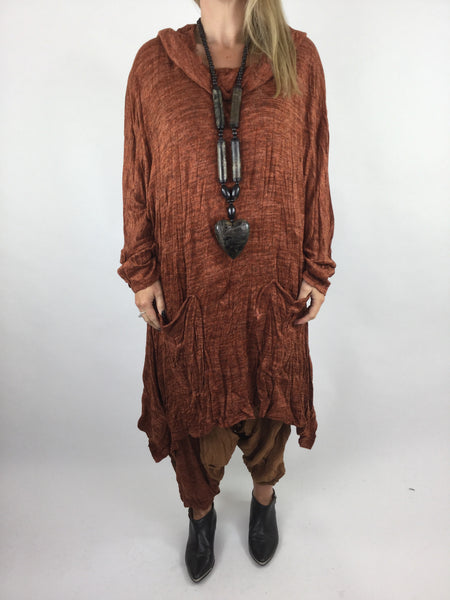 Lagenlook Crinkle Collar Tunic in Rust. code 90468