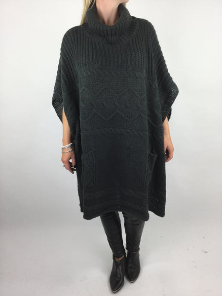 Lagenlook Lilly Chunky Knit in Graphite Grey. code 17100
