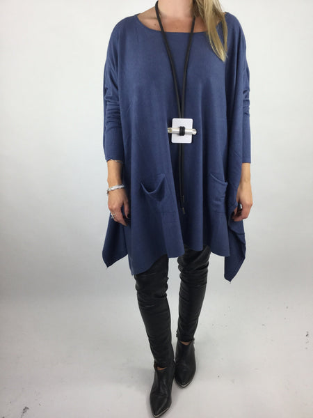 Lagenlook Knitted Poncho In Denim Blue. code 16024