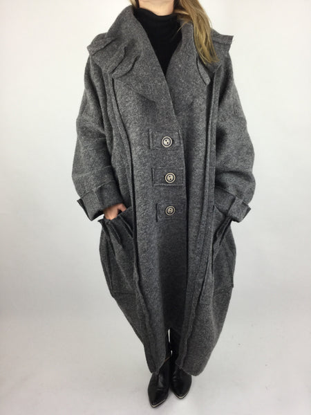 Lagenlook Felt Boho Oversized Coat in Charcoal Grey. code 5555