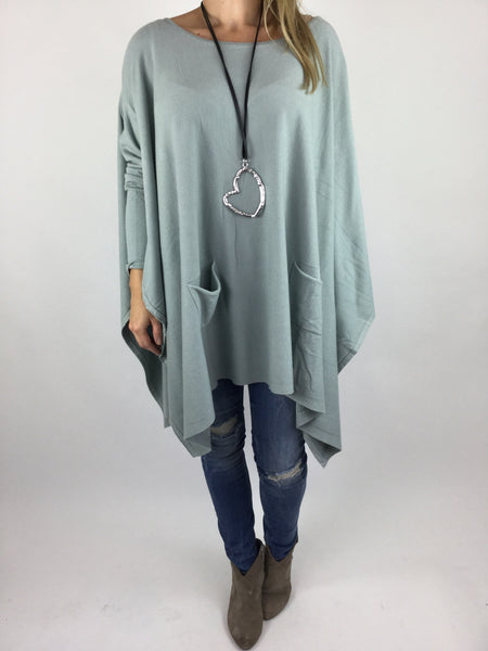 Lagenlook Knitted Poncho In Duck Egg. code 16024