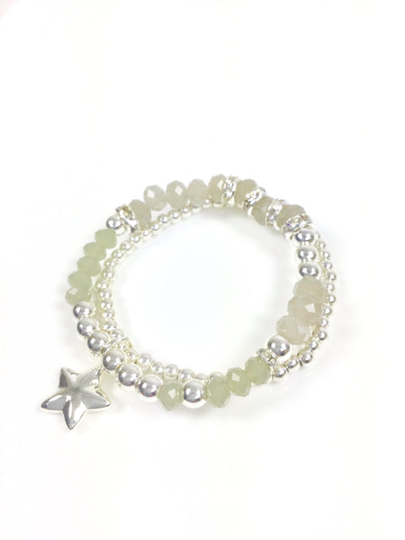 Lagenlook Jewellery Double strand stretchy cut glass star charm bracelet. code SF007H