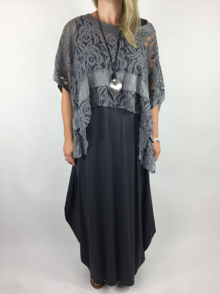 Lagenlook Lace Poncho Top in Charcoal Grey. code 1452