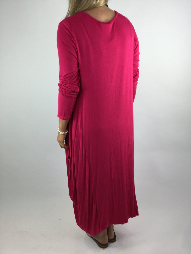 Lagenlook Tilly Long Jersey Tunic in Fuchsia Pink. code 1553