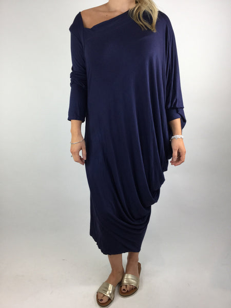 Lagenlook Quirky Angled Jersey Tunic In Navy. code 9941