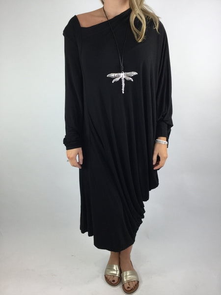 Lagenlook Quirky Angled Jersey Tunic In Black. code 9941