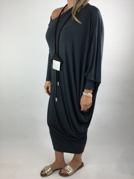 Lagenlook Quirky Angled Jersey Tunic In Charcoal Grey. code 9941