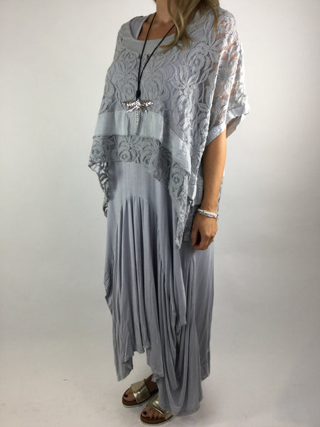 Lagenlook Lace Poncho Top in Light grey. code 1452