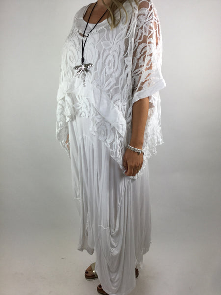 Lagenlook Lace Poncho Top in White.code 1452