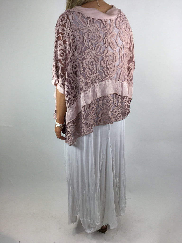 Lagenlook Lace Poncho Top in Pink .code 1452
