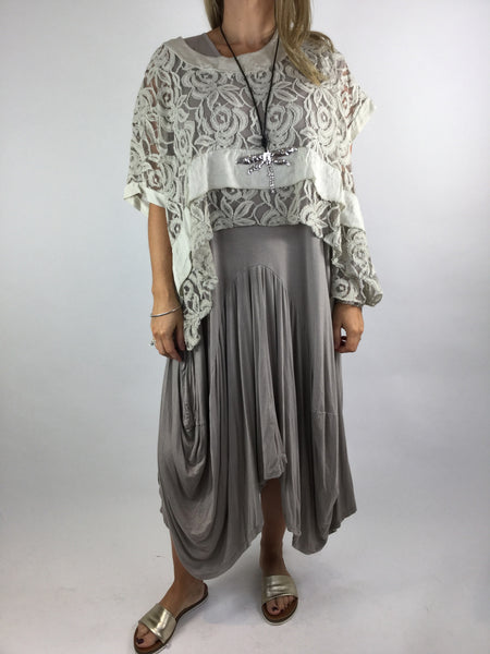Lagenlook Lace Poncho Top in Cream.code 1452