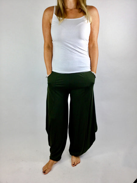 Lagenlook Balloon Trouser in Khaki Green. code 1810