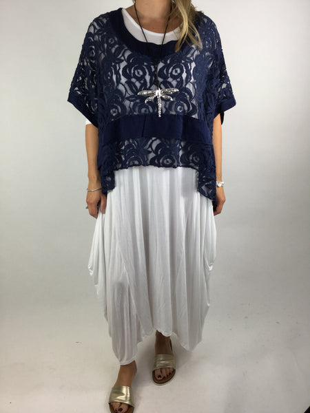 Lagenlook Lace Poncho Top in Navy.code 1452