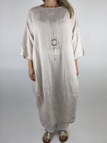 Lagenlook Cocoon Linen Tunic in Cream . code 4306