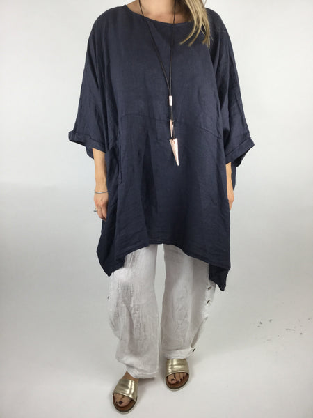 Lagenlook Linen Plain Poncho Top in Navy. code 5699