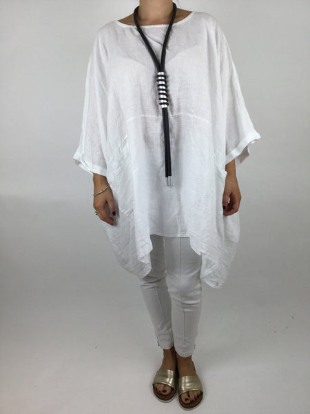 Lagenlook Linen Plain Poncho Top in White code 5699