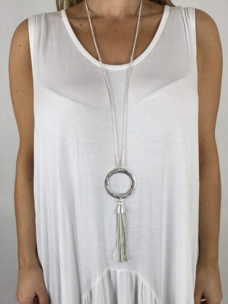 Lagenlook Tassel & Circle Long Necklace. R358