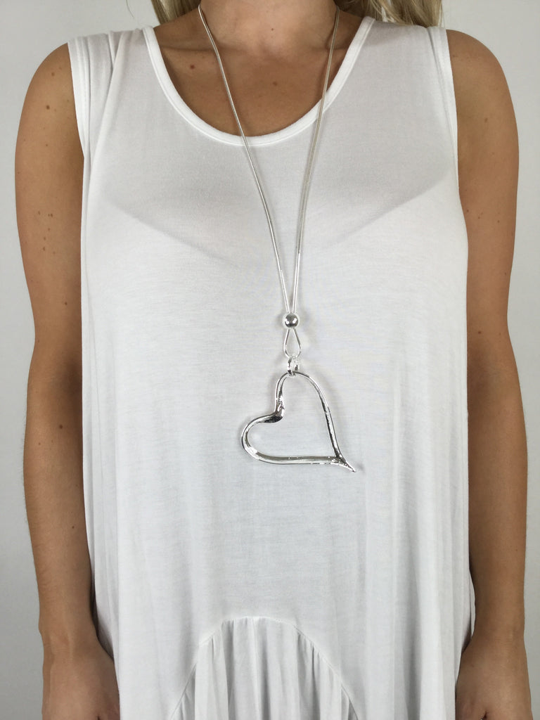 Lagenlook Heart Chain Necklace .code N6300