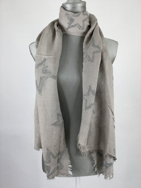 Lagenlook Star Brust Printed Scarf.