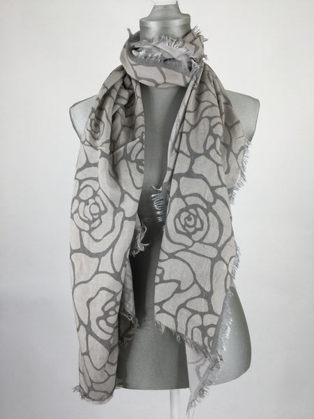 Lagenlook Rose Printed Scarf.