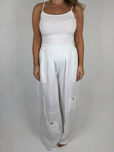 Lagenlook Wide leg Linen Trousers in White. code 6151