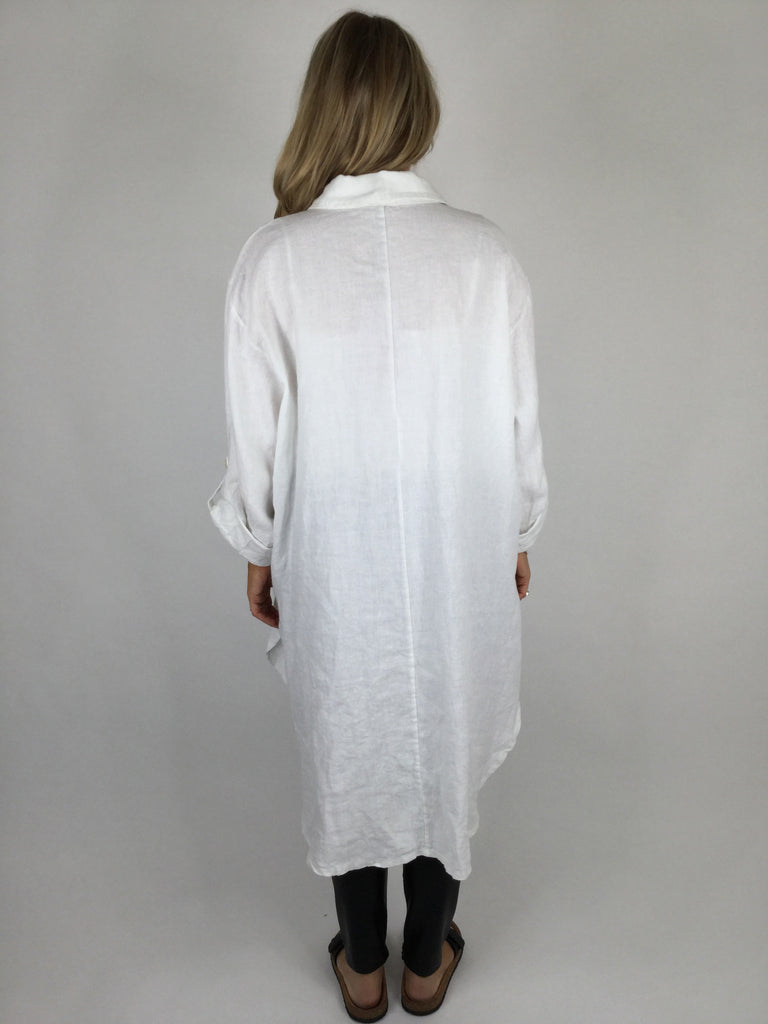 Lagenlook Evie Linen Shirt Heart Quote in White. code 6593