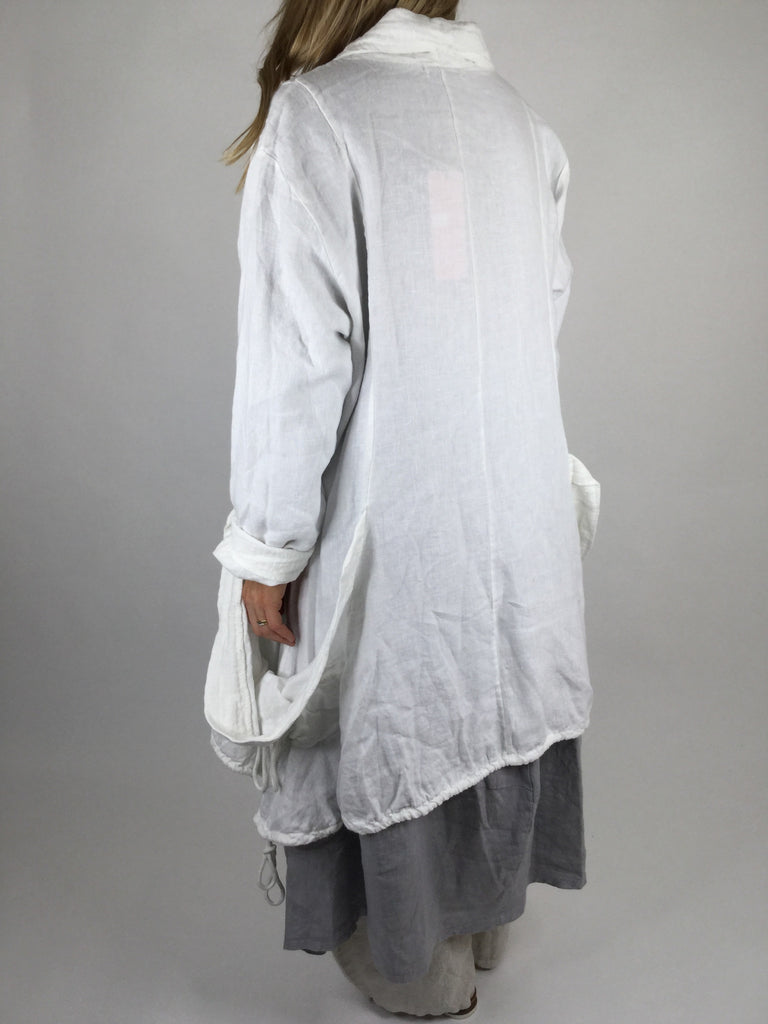 Lagenlook Linen Burton Front Jacket in White. code 90538