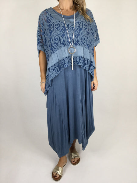 Lagenlook Lace Poncho Top in Denim Blue.code 1452