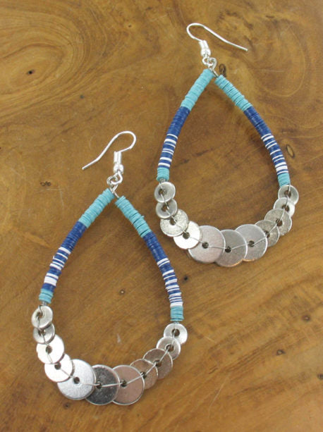 Lagenlook Sequin Hoop Earrings in Blue. code KH1811-blue