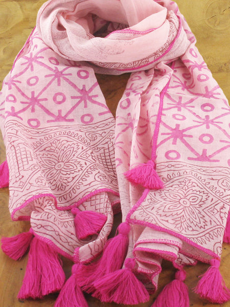 Lagenlook Cotton Block Print with Tassels Scarf in Fuchsia Pink . code KS1807