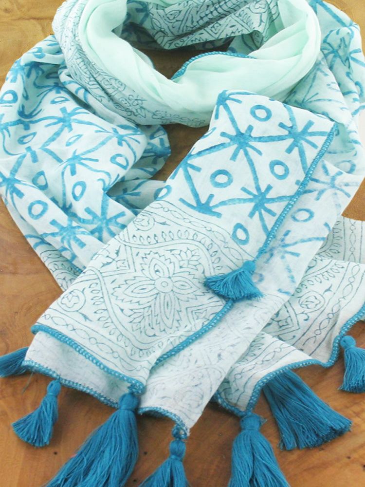 Lagenlook Cotton Block Print with Tassels Scarf in Turquoise . code KS1810