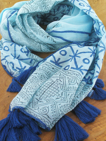 Lagenlook Cotton Block Print with Tassels Scarf in Royal  . code KS1811