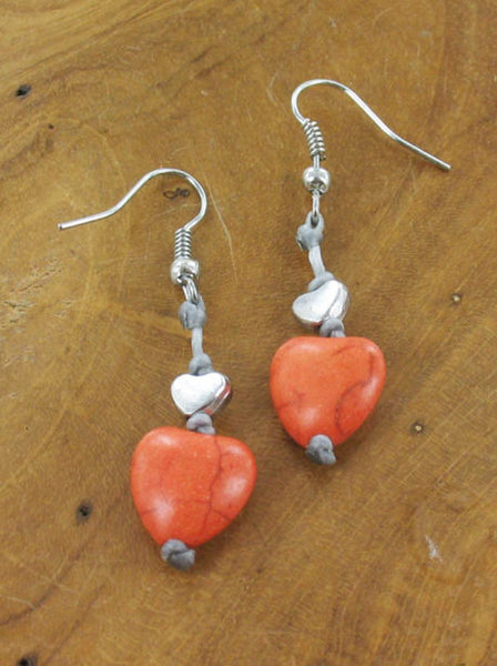 Lagenlook Heart Drop Earrings in Orange. code MA1801