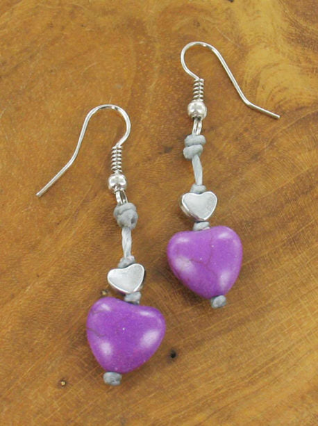 Lagenlook Heart Drop Earrings in Purple. code MA1801pu