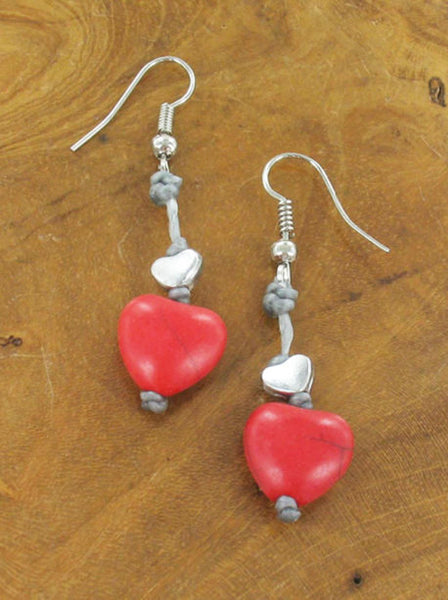 Lagenlook Heart Drop Earrings in Red. code MA1801