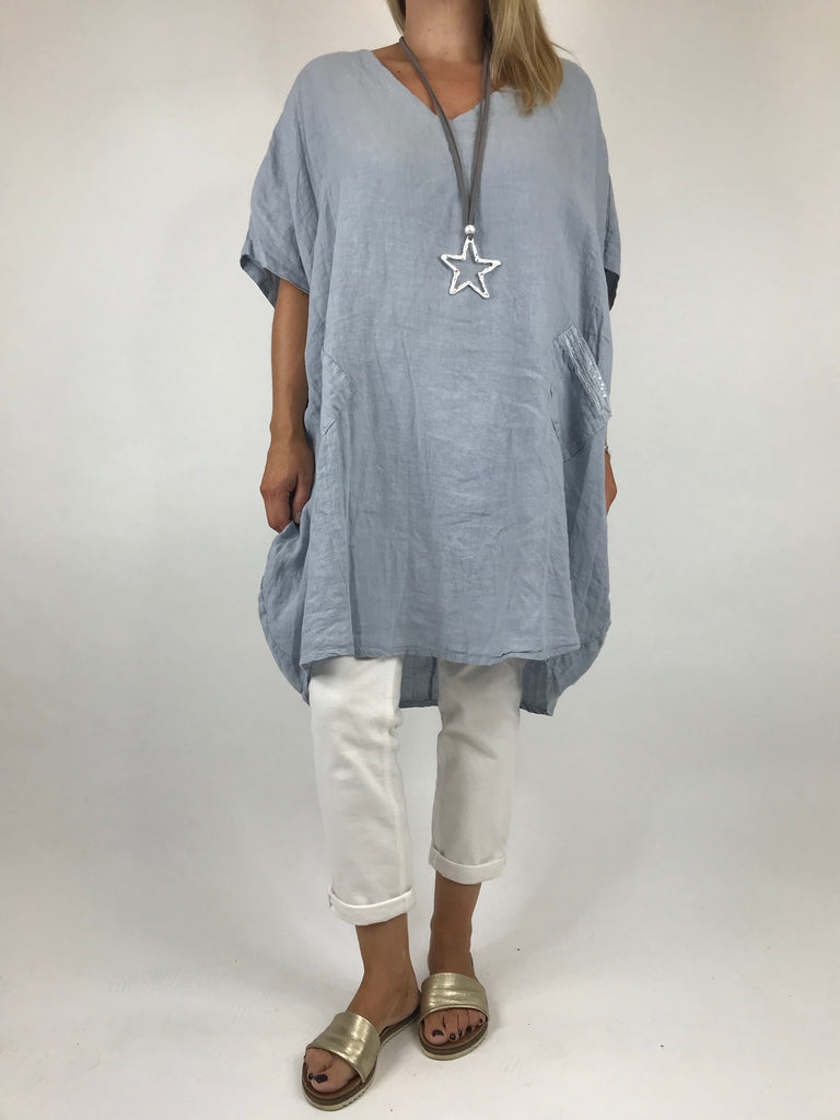 Lagenlook Melody Linen v Neck Tunic in Light Grey. Code 5045