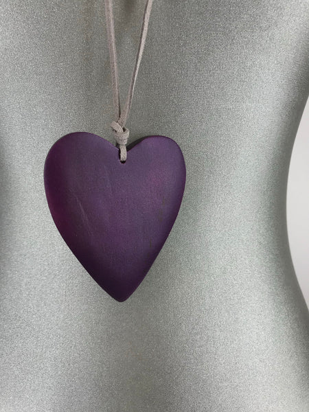 Lagenlook Suede Necklace with Purple Wooden Heart. code FB1801P