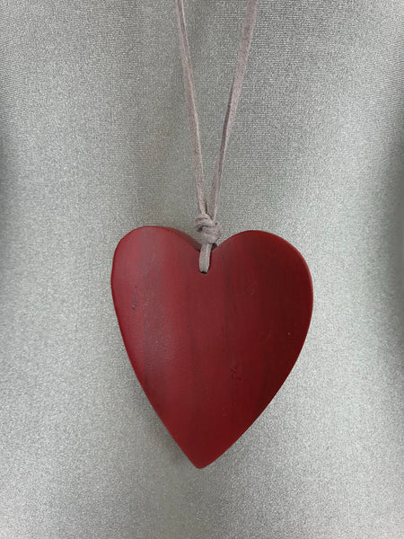 Lagenlook Suede Necklace with Red Wooden Heart. code FB1801