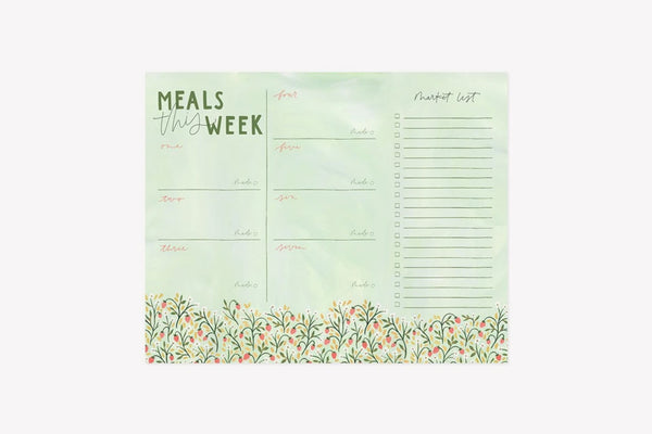 Weekly menu planner and shopping list notepad in Strawberry Meadow design by 1canoe2