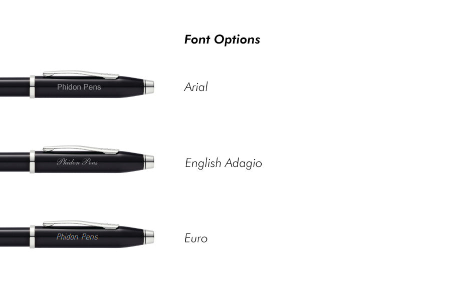 Preview of custom engraving font options for Cross Pens