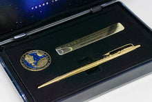 Load image into Gallery viewer, FISHER SPACE PEN  AG7-LE Apollo 7 50th Anniversary Gold Titanium Astronaut Space Pen & Coin Set