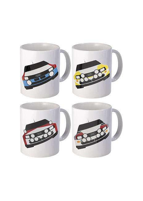 Rally Car Ceramic Mug Set Of 4