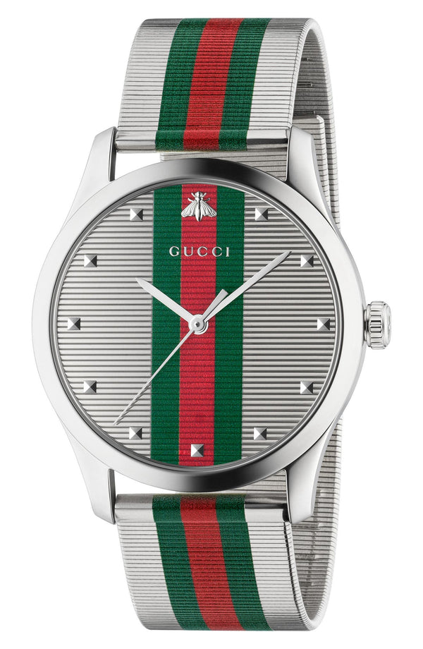 Gucci YA126284 G-Timeless Bee Stripe Mesh Band, 42mm Women Watches Lexor Miami