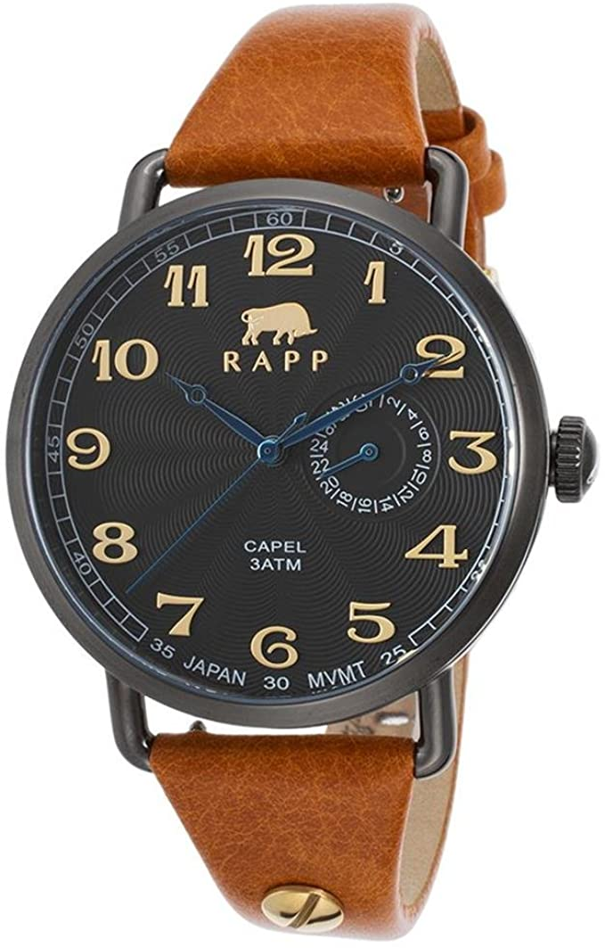 RAPP Watches RP2193 Capel Tan Genuine Leather Black Dial And Ip Stainless Steel unisex Watches Lexor Miami