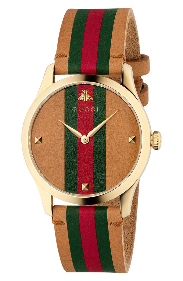 Gucci YA1264077 G-Timeless Leather Strap Watch, 38mm Men Watches Lexor Miami