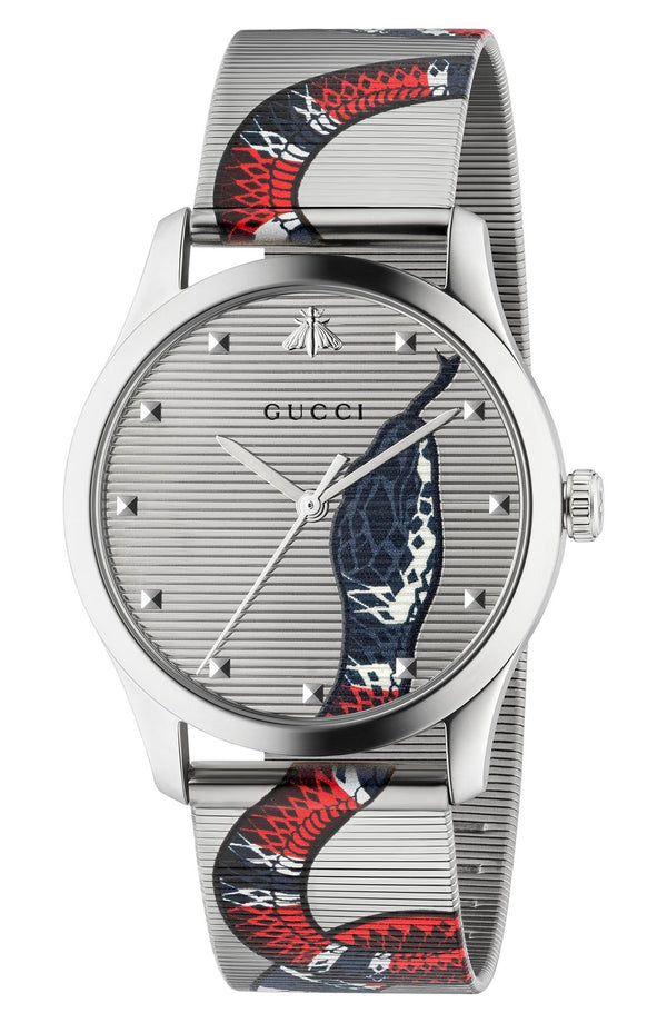 Gucci YA1264123 G-Timeless Snake Mesh Strap Watch, 38mm Women Watches Lexor Miami