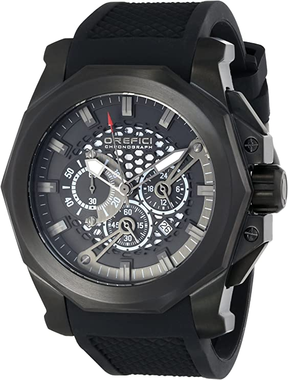 Orefici ORM2C4803 Gladiatore Black ion-plated Stainless Steel Watch with Black rubber band Unisex Watches Lexor Miami