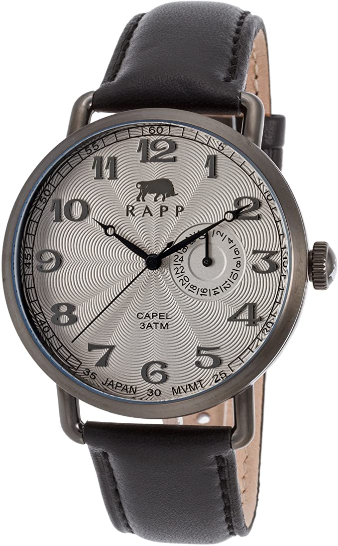 RAPP RP2168 Capel Black Genuine Leather Light Grey Dial Gunmetal Ip Ss Men Watches Lexor Miami