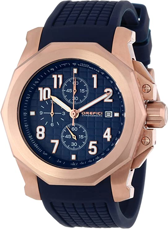 Orefici ORM6C4410 Galante Rose Gold Plated Stainless Steel Watch with Blue Rubber Unisex Watches Lexor Miami